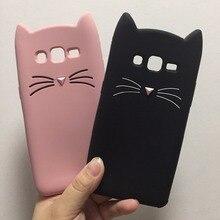 Cute 3D Glitter Beard Cat Soft Silicon Phone Case For Samsung Galaxy J3 J5 J7 2017 2016 Grand Prime Cartoon Coque Back Cover
