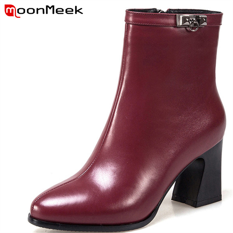 MoonMeek hot sale autumn winter women boots new arrive genuine leather boots ladies high heel ankle boots pointed toe boots цена 2017