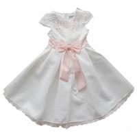 Witte Jurk Rhinestone Roze Bowtie Riem Meisjes Jurken Voor Party En Wedding Kleding Kinderkleding Peuter Verjaardag Outfits