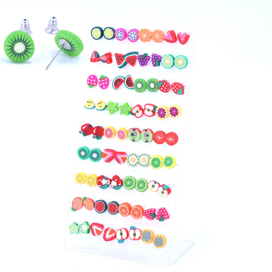 Free Shipping Fashion Hand Made Craft Work Polymer Clay Slices Fruit Animal Flower Designs Iron Stick Stud Earrings 36pairs/lot
