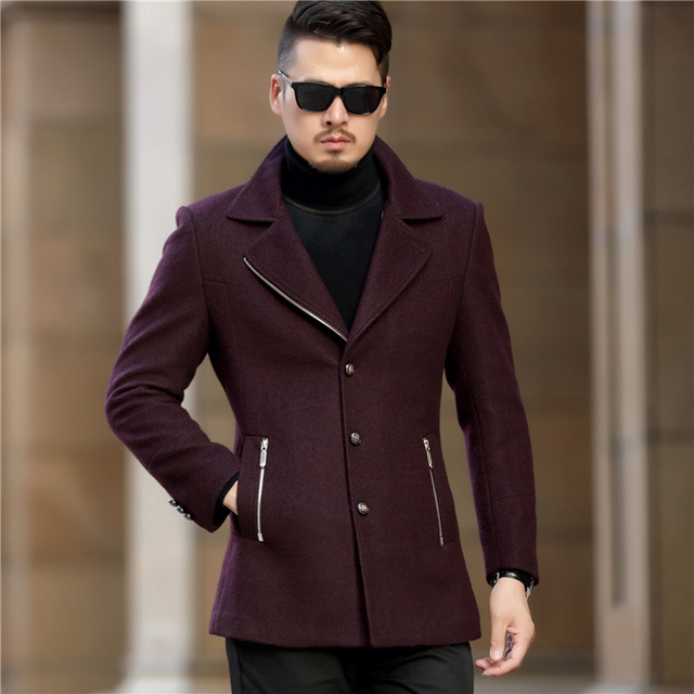 new styles 316e1 829f7 US $89.32 |2017 lange Trenchcoat Herren Woll Lange Mäntel Rot Schwarz  Winter Jacken Grau Mäntel Social Slim Fit Britischen Jaquetas Masculina in  2017 ...