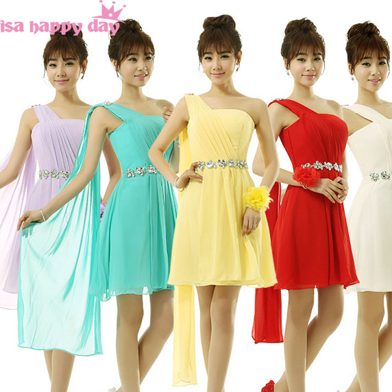Cheap Plus Size Turquoise Green One Shoulder Short Bridesmaid Lavender Knee Length Dress Bridesmaids Dresses Under 50 B2701