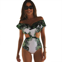 One Piece Swimsuit Sexy Swimwear Women 2017 Summer Beach Wear Bathing Suit Bandage Backless Halter Top