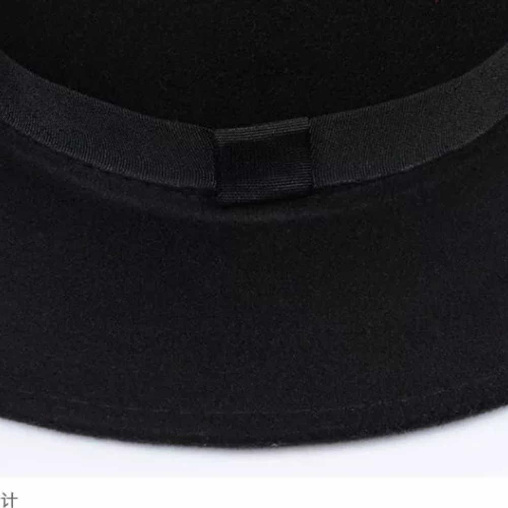 ใหม่คลาสสิกสีทึบ Felt หมวกหมวก Fedoras หมวกเข็มขัดสำหรับผู้ชายผู้หญิงผสมแจ๊สหมวกปีกกว้างง่าย DERBY แบนหมวก Mujer