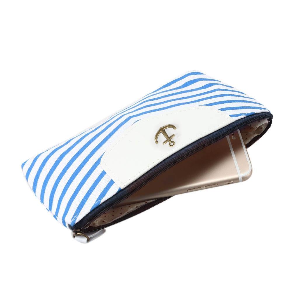Cute Purse Student Navy Canvas Pen Pencil Small Wallet Hasp Purse Kawaii Bag Clutch Bag Monedero #A9