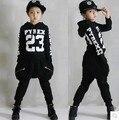 Детская Хип-Хоп Одежды Устанавливает Мальчики Девочки Хлопок Буквы Уличные Танцы Одежда Twinset Уличная Толстовка Шаровары G257