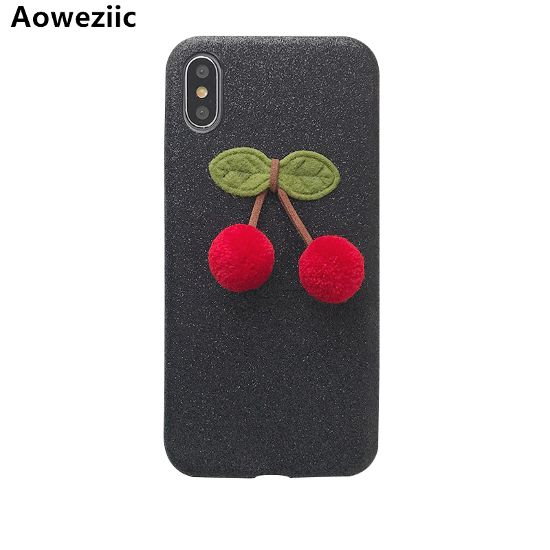 Aoweziic Flash powder For iPhoneX mobile phone shell DIY stereoscopic cherry 7plus Protection Suite I8 personality female 6S