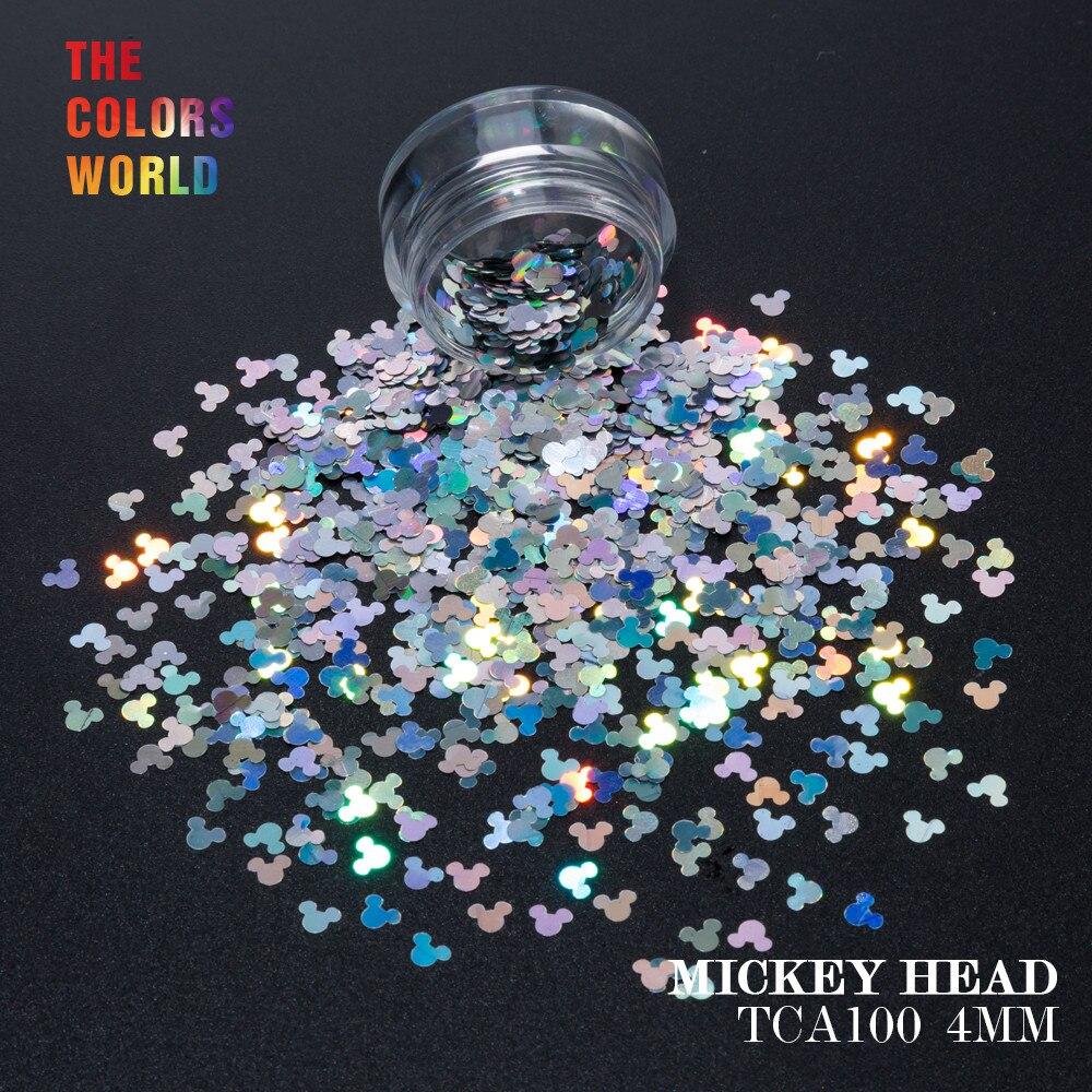 TCT-157 Holográfico Laser Cor Mickey Mouse 4 MM Forma Glitter Nail Art Decoração de Unhas de Gel Makeup Manual DIY Artesanato Decoração