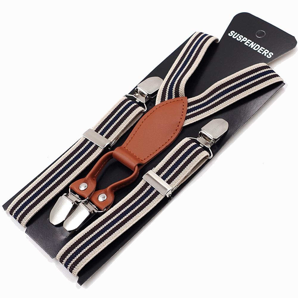 2019 Baby Suspenders 4 Clips Leather Braces Kids Suspensorio Elastic Adjustable Tirantes Bretelles 2.5*65cm New Fashion Design