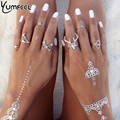 New Vintage Boho Rings Jewelry 7pcs/Pack  Metal With Antique Silver Plated Multipack Ring Set for Woman anel Antler