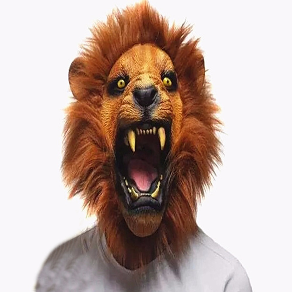 Halloween accessoires adulte en colère tête de Lion masques Animal plein Latex mascarade fête d'anniversaire en caoutchouc Silicone visage masque fantaisie robe