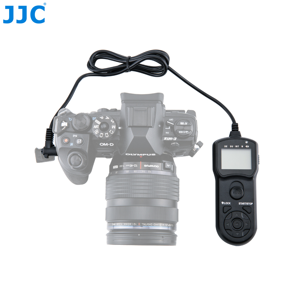 JJC Camera Timer Remote Controller for Olympus OM-D E-M1 Mark II/PEN F/OM-D EM10 II/E-PL8 Multi-Function Shutter Release Cord 1 2 lcd wired timer remote shutter release for olympus e30 sp510 ep 1 more 2 x aaa