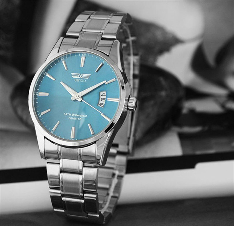 SWIDU Watch Men Stainless Steel Band Luxury Man Watches Date Calendar Quartz Analog Sport Wrist Watch relogio masculino #60