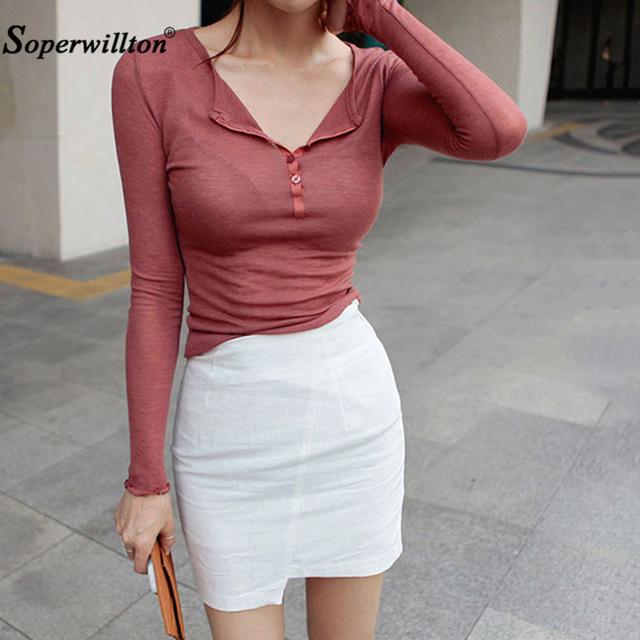 Camiseta Sexy para mujer camiseta Casual primavera verano Camisetas coreanas de manga larga con cuello en V para mujer top