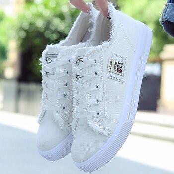 Toile chaussures femme 2020 nouveauté à lacets printemps/automne baskets pour filles mode Denim couleur unie bleu/chaussures de loisir blanches Tennis