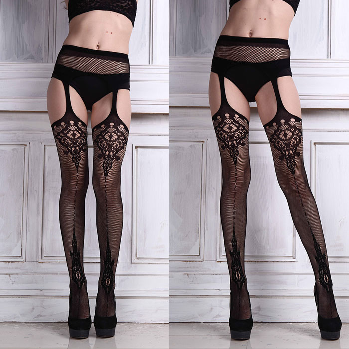 1Pair Sexy Lingerie Lace Garter Belt Set with Fishnet Mesh Thigh High Stockings Pantyhose for Women &Wholesale