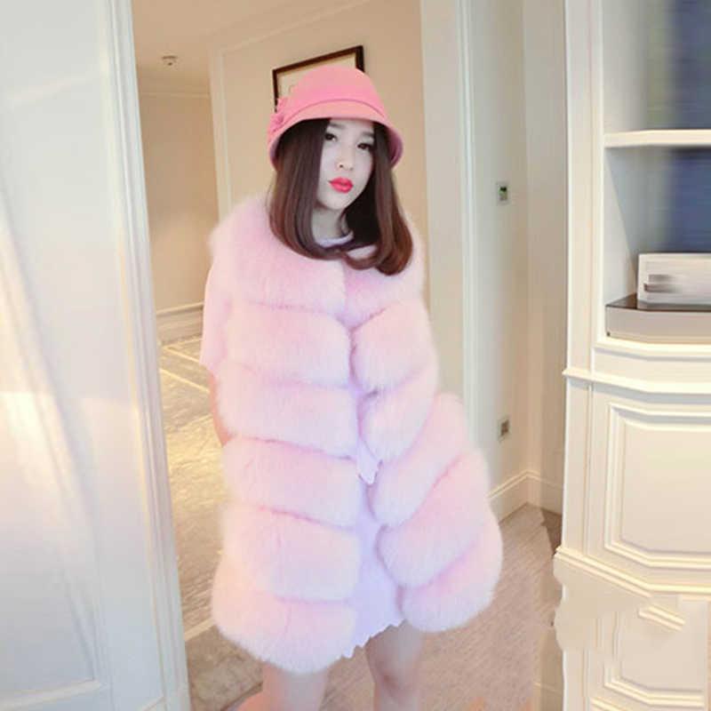 Зимний теплый жилет высокого качества меховой жилет пальто роскошный из искусственной лисы теплые женские пальто жилет Зимняя мода мех Женская куртка жилет