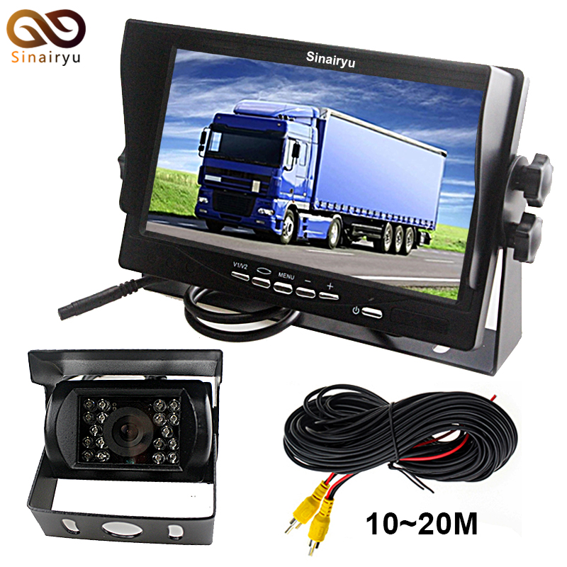 цена на DC12~24V Truck Bus HD 7 Inch TFT LCD Car Parking Monitor With Sun Shade 2CH Video Input + IR Night Vision Rear View Camera