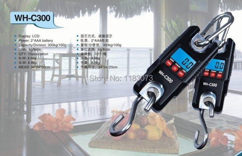 300kg 0.1kg Portable Digital Crane Scale 300KG 100g LCD Electronic Hanging Scale Stainless Steel Hook Loop Weighing Balance C300 mini 40kg 10g portable lcd display luggage fishing hook electronic weight digital scale pocket weighing hanging scale