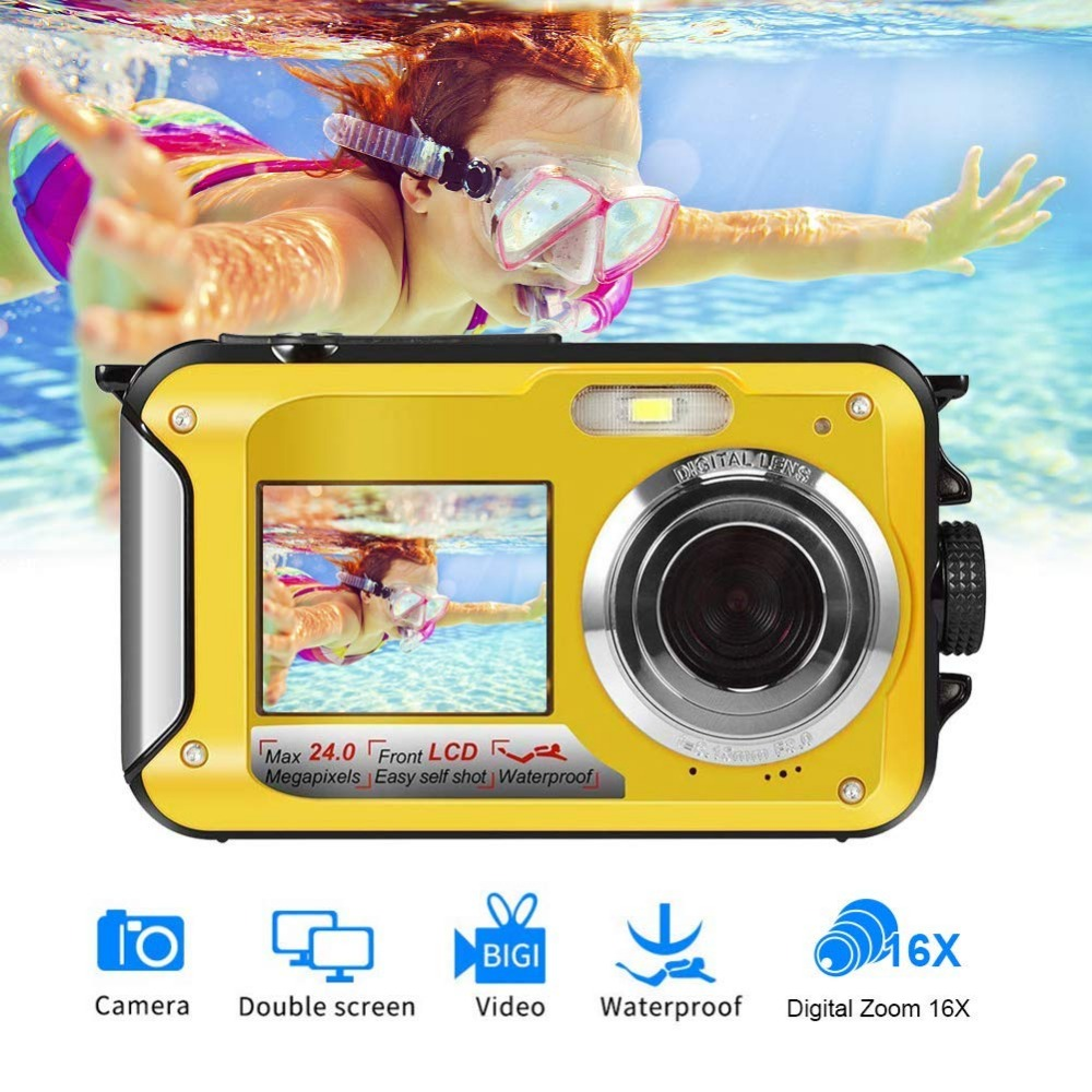 HD268 Waterproof Digital Camera 2.7 inch TFT Double Screen Camera 24MP MAX 1080P Full HD Underwater Zoom Camcorder New arrival(China)