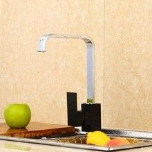 Бесплатная Доставка Хром и Черный Креативный Дизайн Латунь Поворотный Кухонные Мойки Кран 360 градусов вращающийся Кухонный Смеситель
