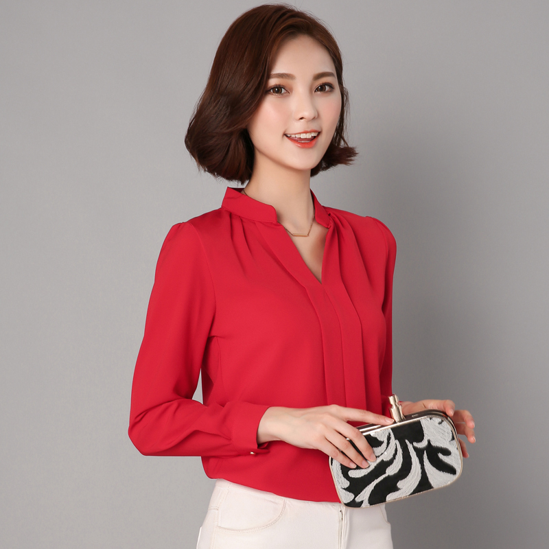 6c9132349b2c € 10.65 |2017 de Manga Larga Camisa de Gasa Blusas Para Mujer Ladys Formal  Blanco negro Azul Rojo Rosa Ropa de Trabajo Mujer Camisas Mujer Tops S ~ ...
