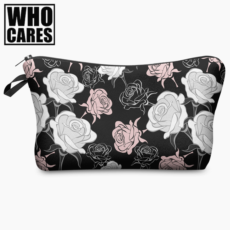 Beauty Roses Black Tropical Flowers Palms 3D Print Cosmetic Bag Women Makeup Organizer Toiletry Bag with Zipper Neceser Trousse nid d ange брюки roses