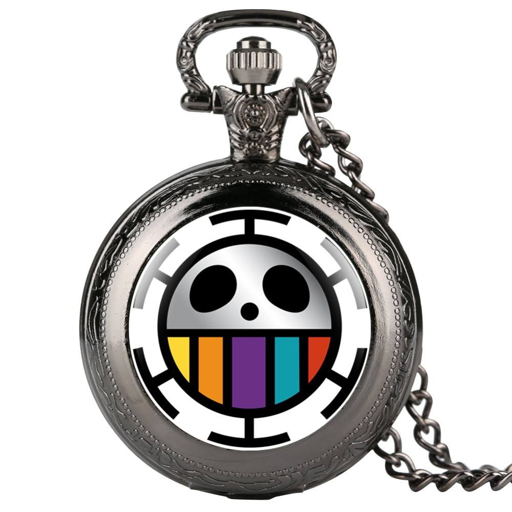 One Piece Robert Smile Rial Quartz Pocket Watch Cool Fob Watches Necklace Pendant For Women Men Best Gifts For Children Kid Girl