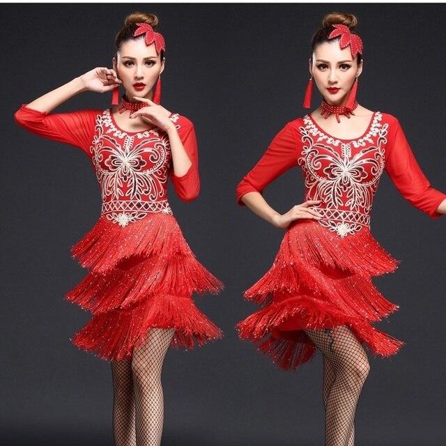 0a783c7ede58 Woman Adult Tassels Dress High Quality Ballroom Competition Tassel Latin  Dance Dress Fringe Latin Dance Costumes Sequin Dresses