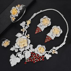 Image 4 - SisCathy Luxus Big Rose Blume Schmuck Sets Für Frauen Hochzeit Party Kleid Indische Braut Cubic Zirkon CZ Schmuck Sets 2019