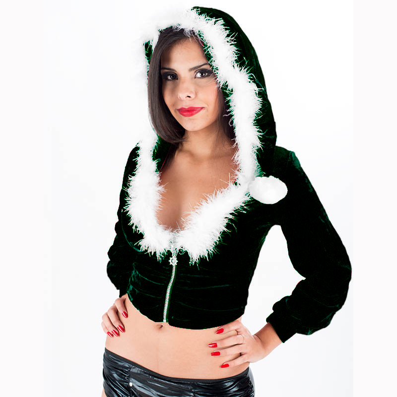Sexy Women Miss Santa Hooded Christmas Costume for Adult Velvet Fur Green Hooded Coat Sexy Female Santa Claus Costume Xmas Gifts