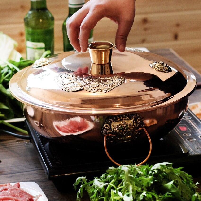 Cuisinière à Induction mandarine canard cuivre plat de friction épaississement pot chaud style Sichuan double goût instantané bouilli pot à deux saveurs