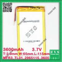 3.7V 3600mAh battery 2965115 3600 mah Lithium Polymer Battery Li Po li ion For Mp3 DVD Camera GPS PSP bluetooth electronics