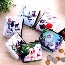 50PCS / LOT Girl Printing Animal Coin Bag Girls Cute Kawaii Card Key Money Small Bags Creative Dog Purse Earphone