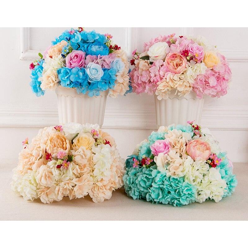 2019 nouveau mariage route plomb fleur hortensia rose T scène mise en page floral accessoires bienvenue zone fleur boule mariage pièce maîtresse fleur