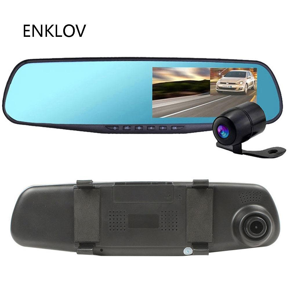 ENKLOV 4.3 Double Lens Car Traveling Data Recorder DVR - Black