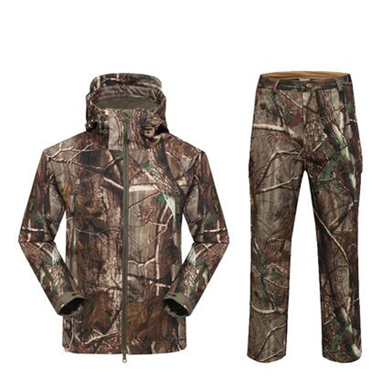 TAD Softshell Sharkskin Suits Men Outdoor Waterproof Hunting Clothes Fleece Lining Jacket Military Camping Gear outdoor breathable softshell jacket men s black tactical hunting waterproof windproof jacket soft shell with fleece lining