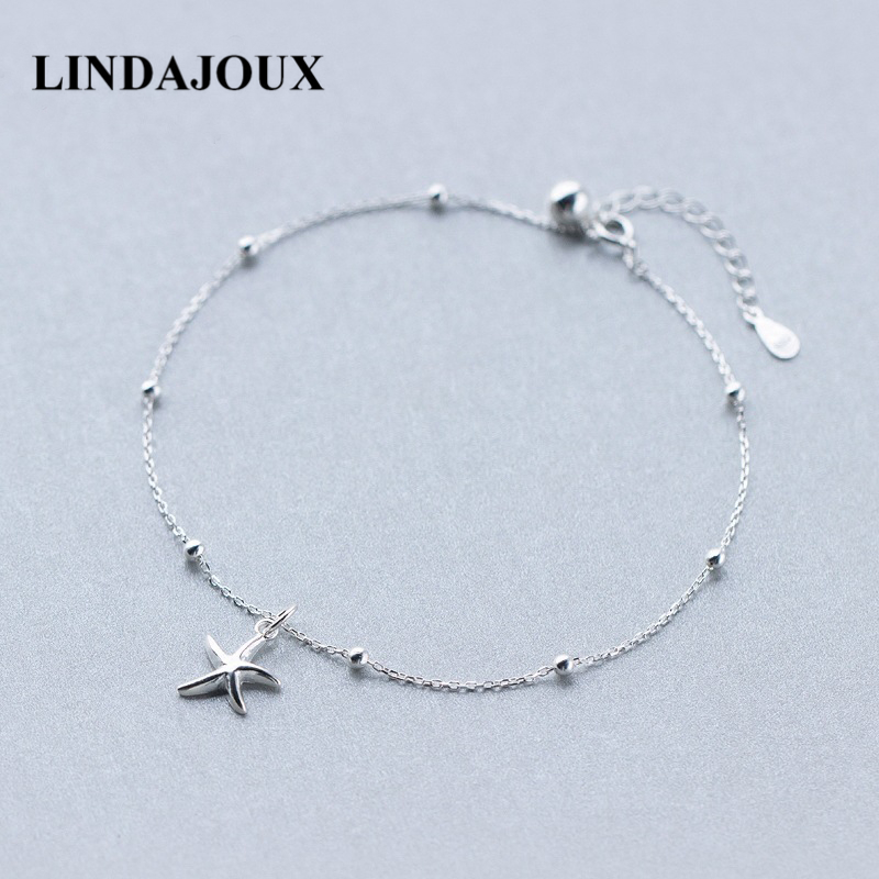LINDAJOUX 925 Sterling Silver Fashion Sea Star Charm Anklet For Women S925 Ankle Bracelet Adjustable Length 925 sterling silver cz by the yard anklet bracelet 10