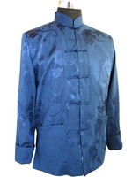 High Quality Navy Blue Men S Silk Satin Jacket Novelty Martial Arts Coat Tang Suit Dropshipping