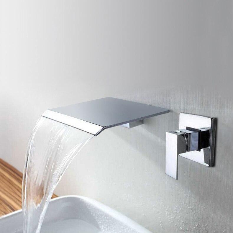 Bathroom Faucet Waterfall Shower set Brass Wall Mounted Valve Basin Mixer Embedded Single function Rain Shower