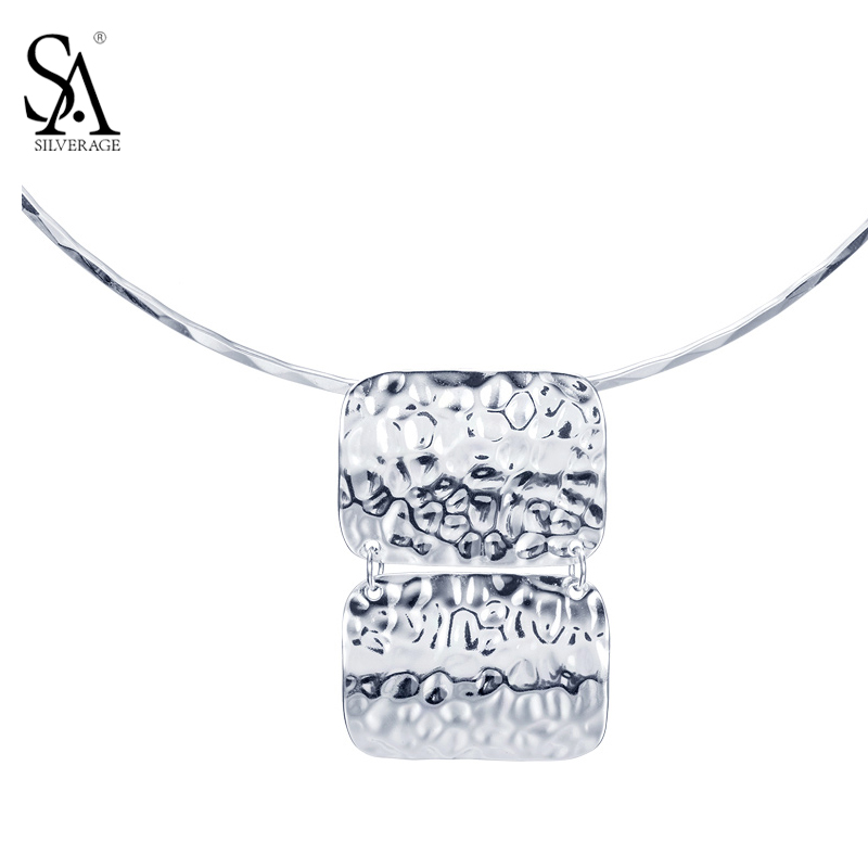 SA SILVERAGE Real 925 Sterling Silver Silver Collar Maxi Necklaces & Pendants for Women Necklace Pendant Chain Choker Necklace sa silverage 2018 women twelve constellations choker pendants necklaces personality fashion trend lettering chain necklaces