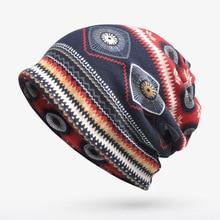 New arrival Vintage pattern Multi Purpose beanie&Scarf  Casual hat for Men Women Hip-hop cap for autum spring Elastic cap hot sale print women s hat scarf stripped hip hop beanie spring