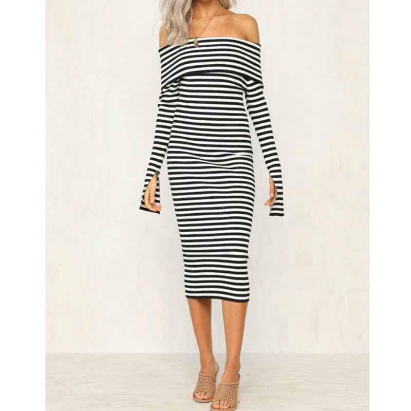 2018 Autumn Women Black and white Stripe Slash neck Dress Sexy Knee Length Female Bodycon Clothing Bandage Dress