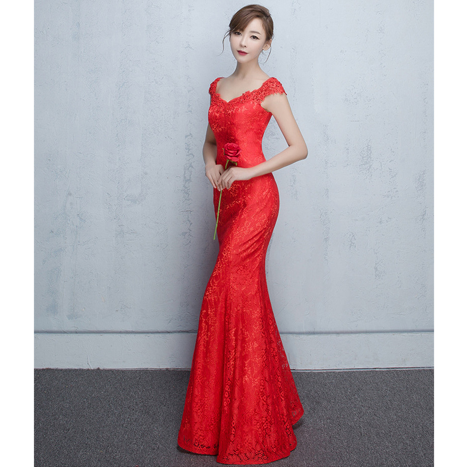CEEWHY Red Mermaid Evening Dresses Long Formal Evening Gowns Dresses ...