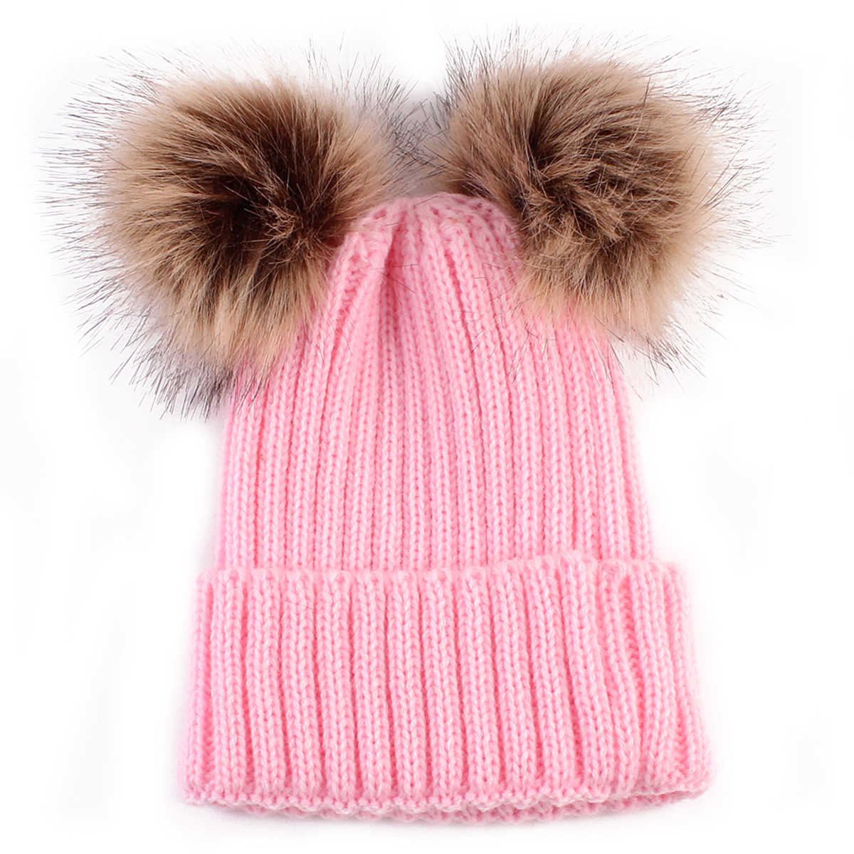 ... Baby Boy girl Winter Warm Knit Beanie Hat Winter infant Hat Double  Pompom Hats Fur Ball ... fbb658e8e176c