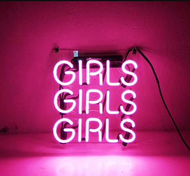 Barre de bière de signe de néon en verre de filles roses faites sur commande