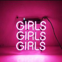 Personalizado Rosa chicas vidrio señal de luz de neón cerveza Bar