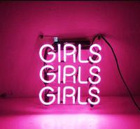 Custom Pink Girls Girls Girls Glass Neon Light Sign Beer Bar