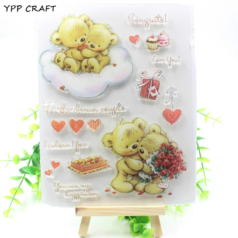 YPP CRAFT Lovely Bears Transparent Clear Silicone Stamp/Seal for DIY scrapbooking/photo album Decorative clear stamp lovely elements transparent clear silicone stamp seal for diy scrapbooking photo album decorative clear stamp sheets