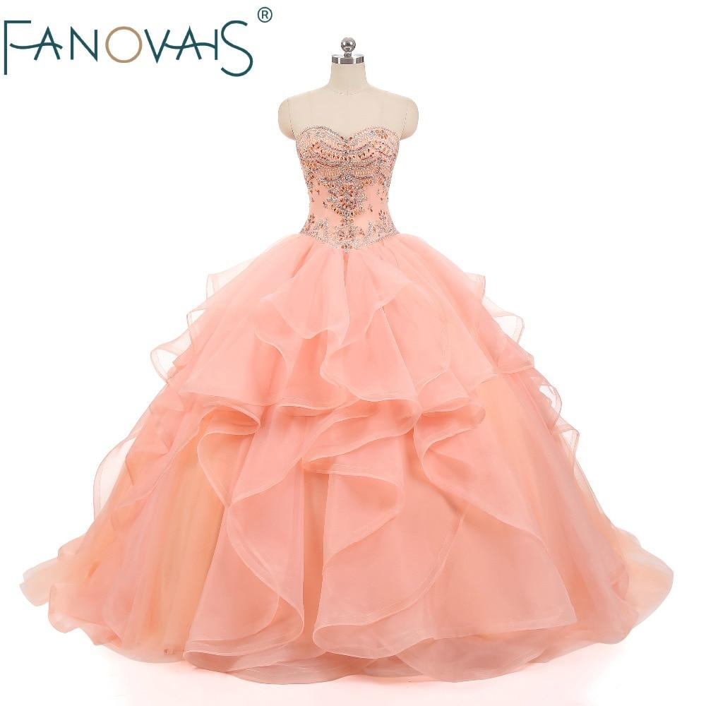 Quinceanera Dresses Beaded 2019 ball gown prom dresses pageant gown sweet 16 dress vestido de fiesta Organza Ruffles